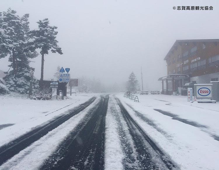 早くも冬到来!?志賀高原で積雪